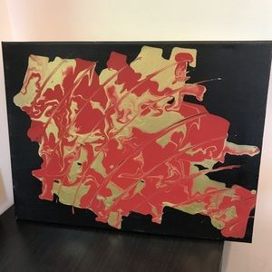 Red & gold abstract acrylic art on canvas 12 x 16
